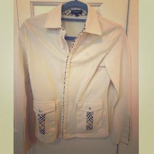 Burberry jacket coat classic plaid trim sweater